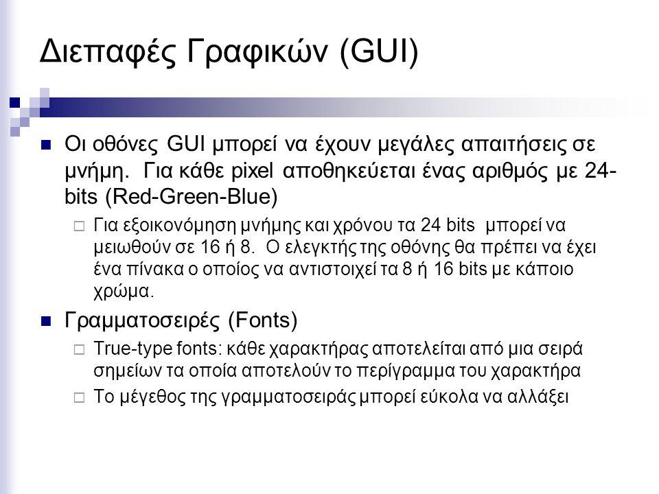 Διεπαφές Γραφικών (GUI)  Οι οθόνες GUI μπορεί να έχουν μεγάλες απαιτήσεις σε μνήμη. Για κάθε pixel αποθηκεύεται ένας αριθμός με 24- bits (Red-Green-B