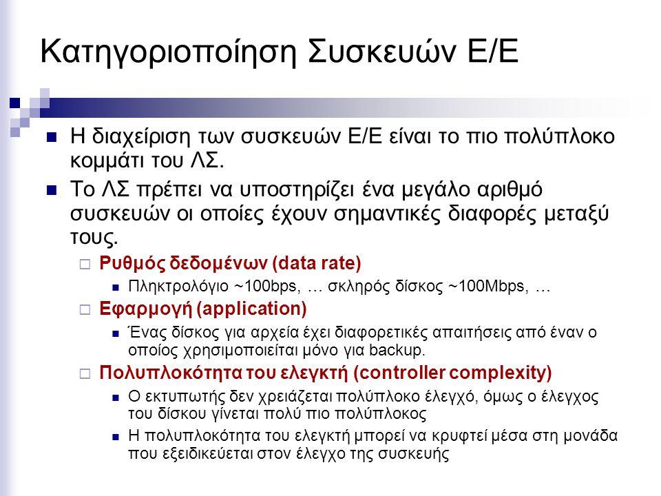 Κατηγοριοποίηση Συσκευών Ε/Ε  Η διαχείριση των συσκευών Ε/Ε είναι το πιο πολύπλοκο κομμάτι του ΛΣ.  Το ΛΣ πρέπει να υποστηρίζει ένα μεγάλο αριθμό συ