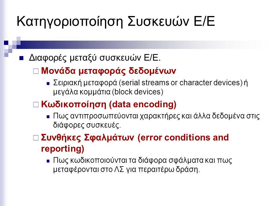Κατηγοριοποίηση Συσκευών Ε/Ε  Διαφορές μεταξύ συσκευών Ε/Ε.  Μονάδα μεταφοράς δεδομένων  Σειριακή μεταφορά (serial streams or character devices) ή