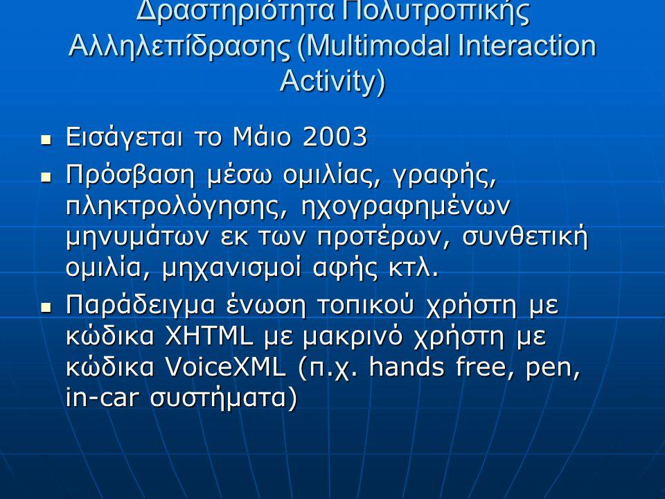 Δραστηριότητα Πολυτροπικής Αλληλεπίδρασης (Multimodal Interaction Activity)  Εισάγεται το Μάιο 2003  Πρόσβαση μέσω ομιλίας, γραφής, πληκτρολόγησης, ηχογραφημένων μηνυμάτων εκ των προτέρων, συνθετική ομιλία, μηχανισμοί αφής κτλ.
