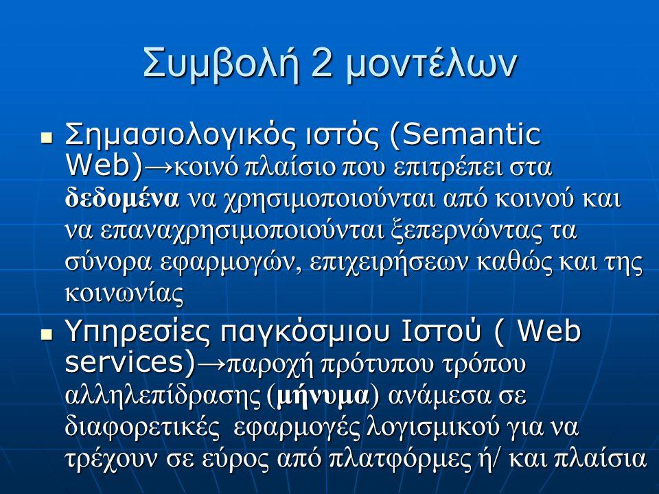 Συμβολή 2 μοντέλων  Σημασιολογικός ιστός (Semantic Web) →κοινό πλαίσιο που επιτρέπει στα δεδομένα να χρησιμοποιούνται από κοινού και να επαναχρησιμοποιούνται ξεπερνώντας τα σύνορα εφαρμογών, επιχειρήσεων καθώς και της κοινωνίας  Υπηρεσίες παγκόσμιου Ιστού ( Web services) →παροχή πρότυπου τρόπου αλληλεπίδρασης (μήνυμα) ανάμεσα σε διαφορετικές εφαρμογές λογισμικού για να τρέχουν σε εύρος από πλατφόρμες ή/ και πλαίσια