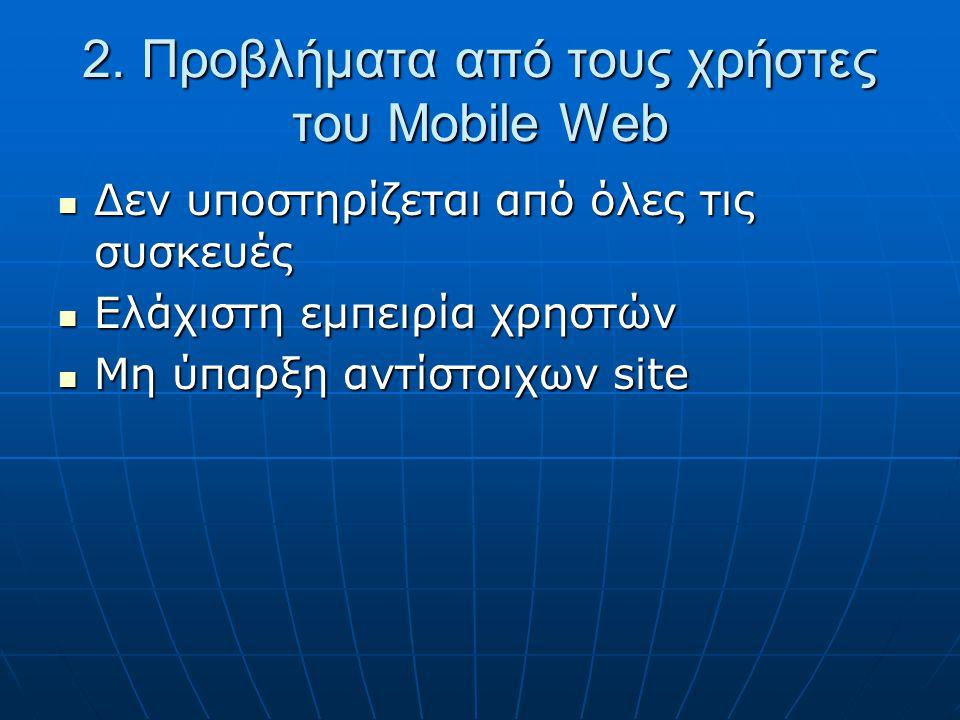 2. Προβλήματα από τους χρήστες του Mobile Web  Δεν υποστηρίζεται από όλες τις συσκευές  Ελάχιστη εμπειρία χρηστών  Μη ύπαρξη αντίστοιχων site
