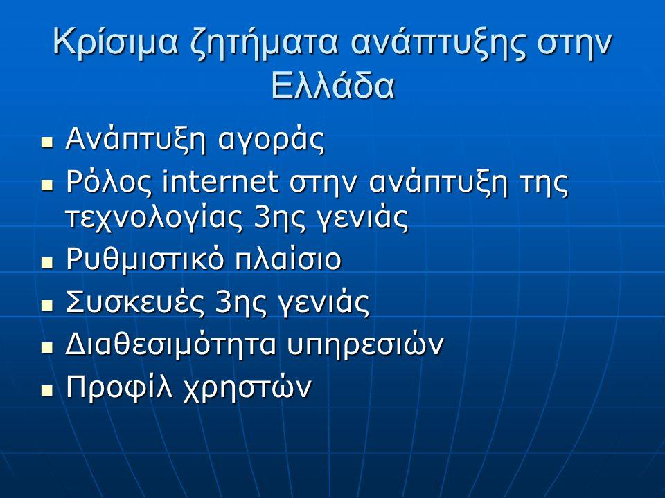 Κρίσιμα ζητήματα ανάπτυξης στην Ελλάδα  Ανάπτυξη αγοράς  Ρόλος internet στην ανάπτυξη της τεχνολογίας 3ης γενιάς  Ρυθμιστικό πλαίσιο  Συσκευές 3ης γενιάς  Διαθεσιμότητα υπηρεσιών  Προφίλ χρηστών