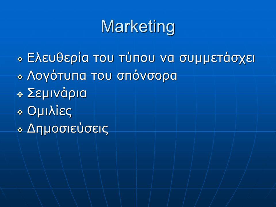 Marketing  Ελευθερία του τύπου να συμμετάσχει  Λογότυπα του σπόνσορα  Σεμινάρια  Ομιλίες  Δημοσιεύσεις
