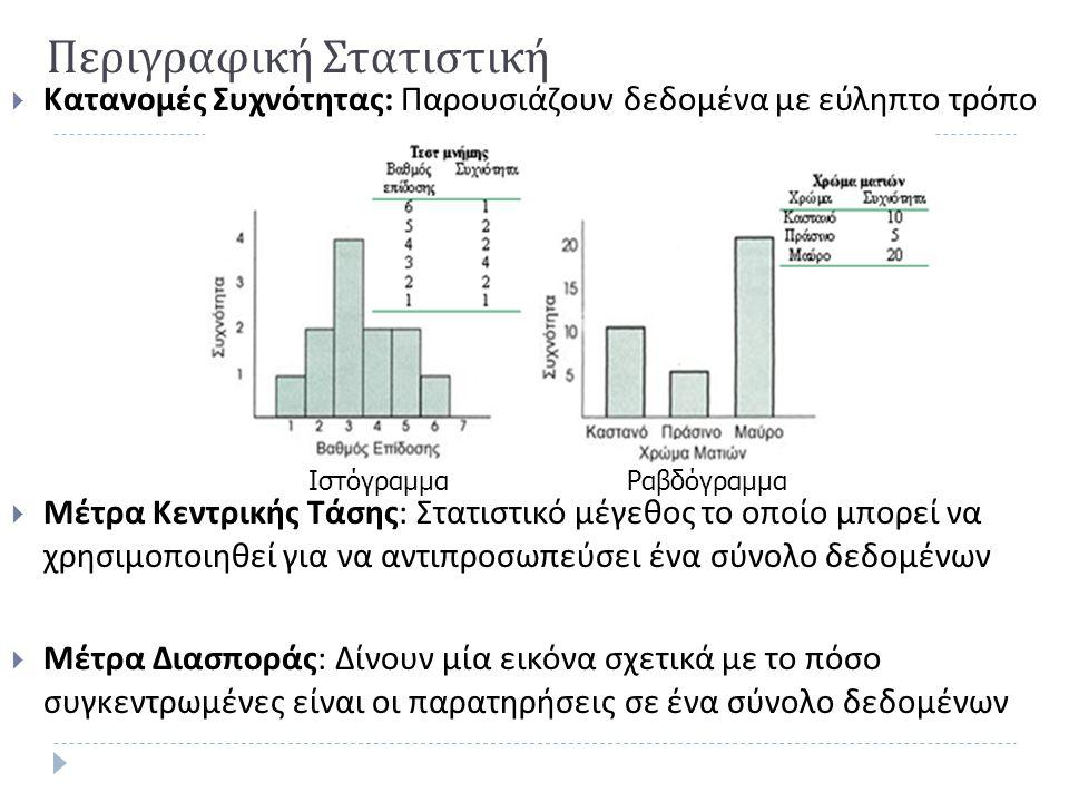 Περιγραφική Στατιστική  Κατανομές Συχνότητας : Παρουσιάζουν δεδομένα με εύληπτο τρόπο  Μέτρα Κεντρικής Τάσης : Στατιστικό μέγεθος το οποίο μπορεί να