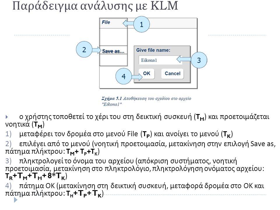  ο χρήστης τοποθετεί το χέρι του στη δεικτική συσκευή ( Τ H ) και προετοιμάζεται νοητικά ( Τ M ) 1)μεταφέρει τον δρομέα στο μενού File (T P ) και ανο