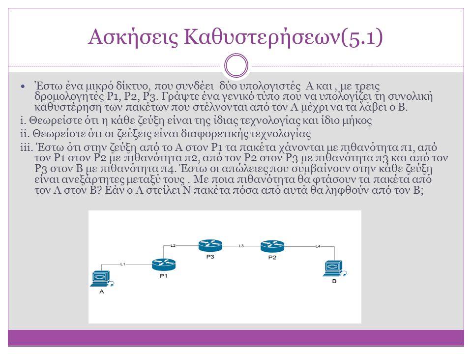 Ασκήσεις Καθυστερήσεων(5.1)  Έστω ένα μικρό δίκτυο, που συνδέει δύο υπολογιστές Α και, με τρεις δρομολογητές P1, P2, P3. Γράψτε ένα γενικό τύπο που ν