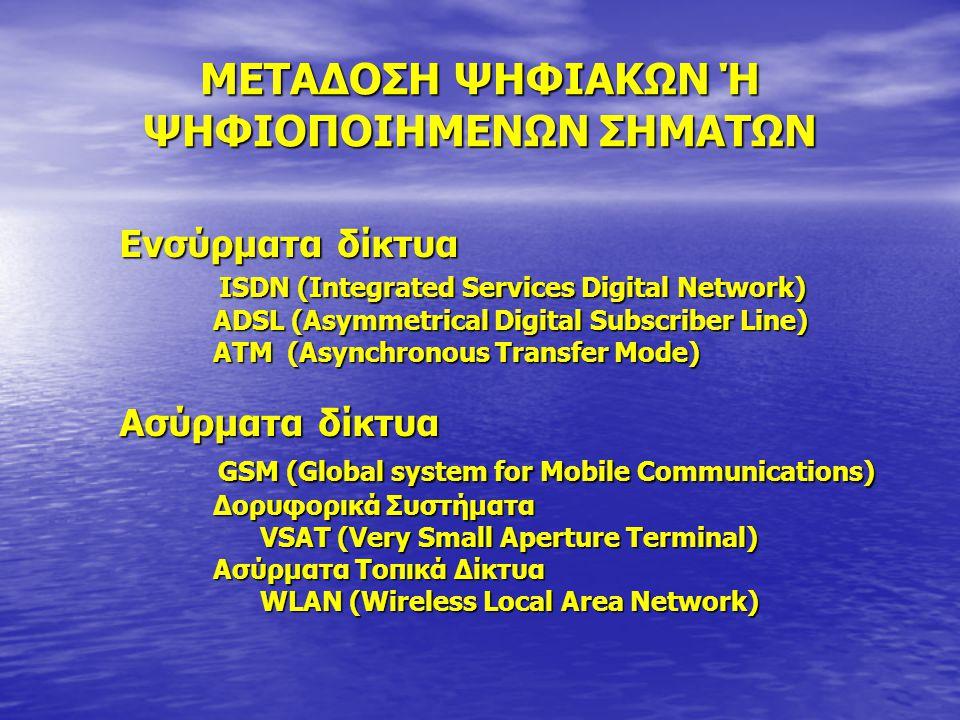 ΜΕΤΑΔΟΣΗ ΨΗΦΙΑΚΩΝ Ή ΨΗΦΙΟΠΟΙΗΜΕΝΩΝ ΣΗΜΑΤΩΝ Ενσύρματα δίκτυα ISDN (Integrated Services Digital Network) ISDN (Integrated Services Digital Network) ADSL