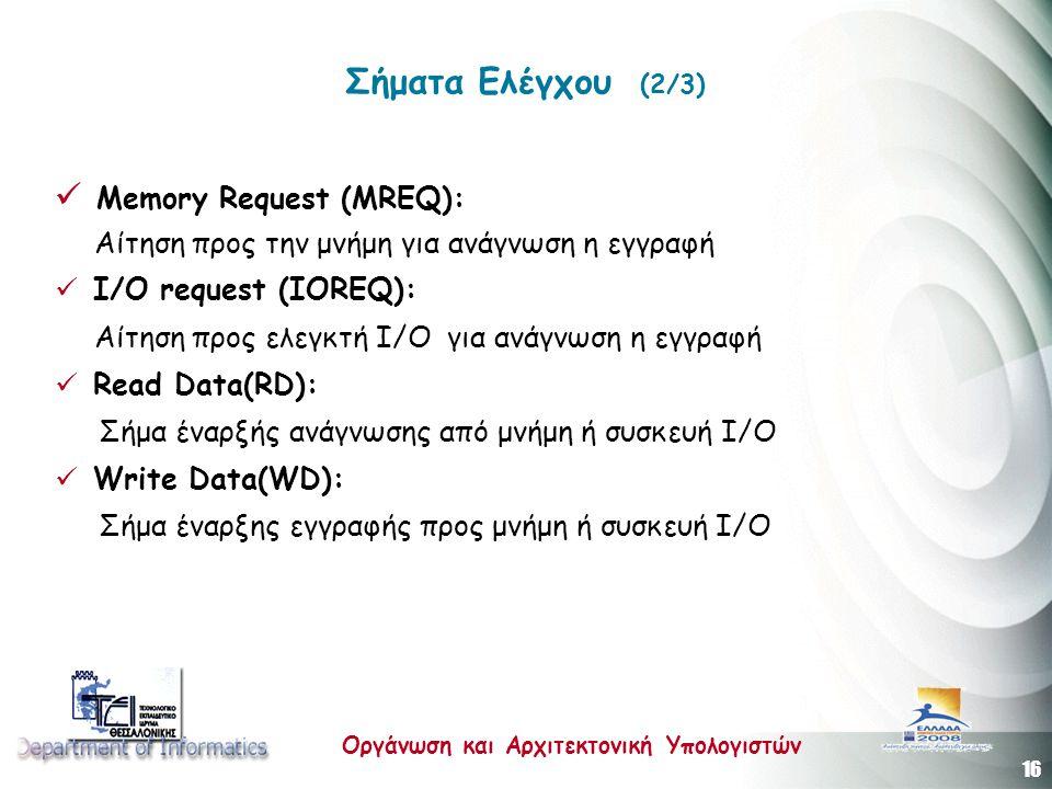 16 Οργάνωση και Αρχιτεκτονική Υπολογιστών Σήματα Ελέγχου (2/3)  Memory Request (MREQ): Αίτηση προς την μνήμη για ανάγνωση η εγγραφή  I/O request (IO