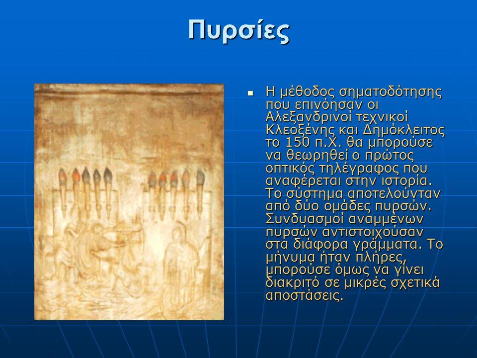 Πυρσίες Πυρσίες  Η μέθοδος σηματοδότησης που επινόησαν οι Αλεξανδρινοί τεχνικοί Κλεοξένης και Δημόκλειτος το 150 π.Χ. θα μπορούσε να θεωρηθεί ο πρώτο