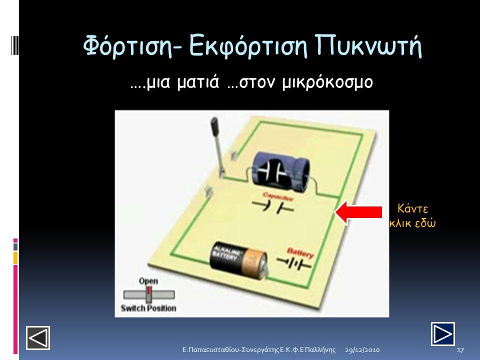 Φόρτιση- Εκφόρτιση Πυκνωτή 29/12/2010E.Παπαευσταθίου-Συνεργάτης Ε.Κ.Φ.Ε Παλλήνης 17 ….μια ματιά …στον μικρόκοσμο Κάντε κλικ εδώ