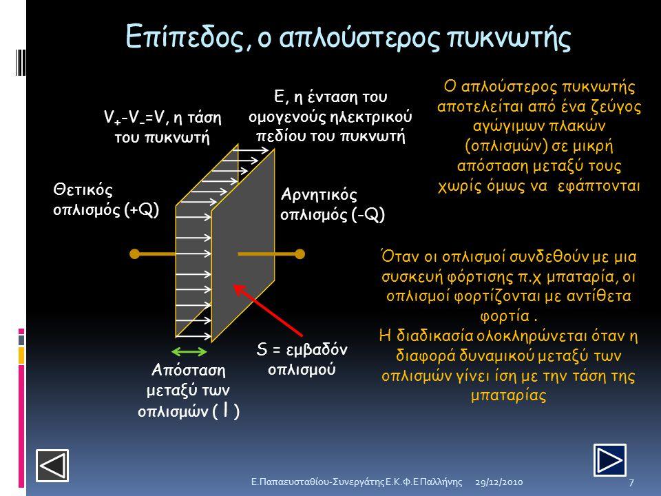 Επίπεδος, ο απλούστερος πυκνωτής Θετικός οπλισμός (+Q) Αρνητικός οπλισμός (-Q) Απόσταση μεταξύ των οπλισμών ( l ) V + -V - =V, η τάση του πυκνωτή Ε, η