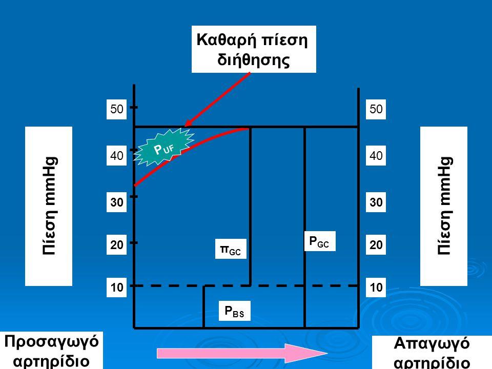 Καθαρή πίεση διήθησης Πίεση mmHg 10 50 20 30 40 10 50 20 30 40 P GC P BS π GC Απαγωγό αρτηρίδιο Προσαγωγό αρτηρίδιο P UF Πίεση mmHg
