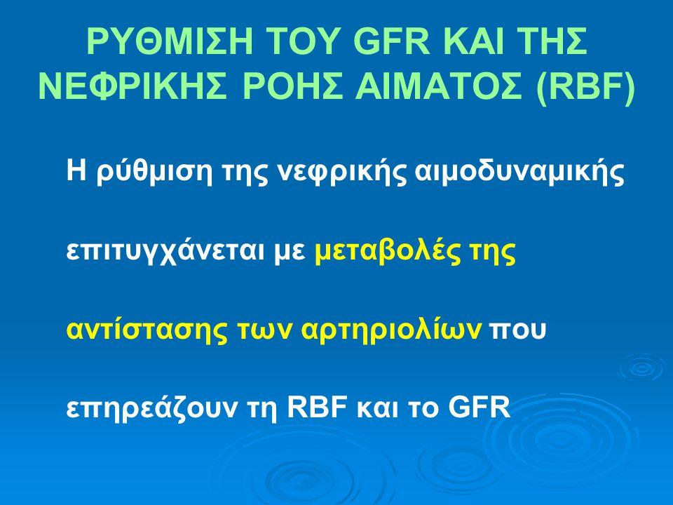 ΡΥΘΜΙΣΗ ΤΟΥ GFR ΚΑΙ ΤΗΣ ΝΕΦΡΙΚΗΣ ΡΟΗΣ ΑΙΜΑΤΟΣ (RBF) Η ρύθμιση της νεφρικής αιμοδυναμικής επιτυγχάνεται με μεταβολές της αντίστασης των αρτηριολίων που επηρεάζουν τη RBF και το GFR