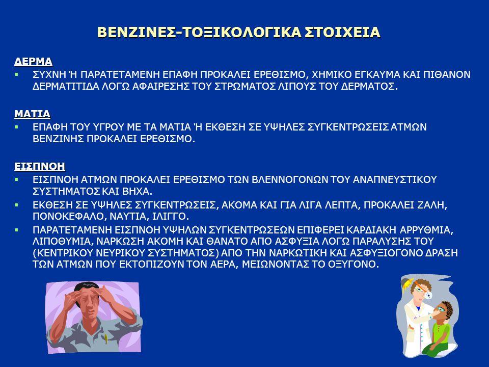 ΒΕΝΖΙΝΕΣ-ΤΟΞΙΚΟΛΟΓΙΚΑ ΣΤΟΙΧΕΙΑ ΕΙΣΠΝΟΗ   ΠΑΡΑΤΕΤΑΜΕΝΗ ΚΑΙ ΕΠΑΝΑΛΑΜΒΑΝΟΜΕΝΗ ΕΚΘΕΣΗ ΣΕ ΥΨΗΛΕΣ ΣΥΓΚΕΝΤΡΩΣΕΙΣ ΒΕΝΖΙΝΗΣ ΜΠΟΡΕΙ ΝΑ ΠΡΟΚΑΛΕΣΕΙ ΒΛΑΒΗ ΣΤΟ ΑΙΜΟΠΟΙΗΤΙΚΟ ΣΥΣΤΗΜΑ (ΛΟΓΩ ΠΑΡΟΥΣΙΑΣ ΒΕΝΖΟΛΙΟΥ) ΚΑΙ ΤΟ ΠΕΡΙΦΕΡΕΙΑΚΟ ΝΕΥΡΙΚΟ ΣΥΣΤΗΜΑ (ΛΟΓΩ ΠΑΡΟΥΣΙΑΣ ΕΞΑΝΙΟΥ).ΚΑΤΑΠΟΣΗ   ΑΠΟΡΡΟΦΑΤΑΙ ΑΡΓΑ ΑΠΟ ΤΗΝ ΠΕΠΤΙΚΗ ΟΔΟ ΚΑΙ ΠΡΟΚΑΛΕΙ ΔΙΑΤΑΡΑΧΕΣ ΣΤΟ ΓΑΣΤΡΕΝΤΕΡΙΚΟ ΣΥΣΤΗΜΑ.
