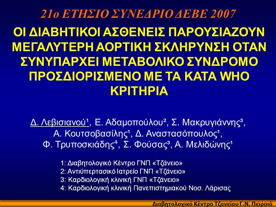 21ο ΕΤΗΣΙΟ ΣΥΝΕΔΡΙΟ ΔΕΒΕ 2007 Διαβητολογικό Κέντρο Τζανείου Γ.Ν. Πειραιά ΟΙ ΔΙΑΒΗΤΙΚΟΙ ΑΣΘΕΝΕΙΣ ΠΑΡΟΥΣΙΑΖΟΥΝ ΜΕΓΑΛΥΤΕΡΗ ΑΟΡΤΙΚΗ ΣΚΛΗΡΥΝΣΗ ΟΤΑΝ ΣΥΝΥΠΑΡ