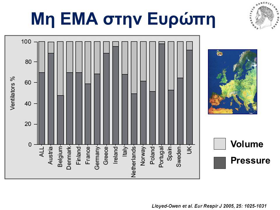 Μη ΕΜΑ στην Ευρώπη Lloyed-Owen et al. Eur Respir J 2005, 25: 1025-1031 Volume Pressure