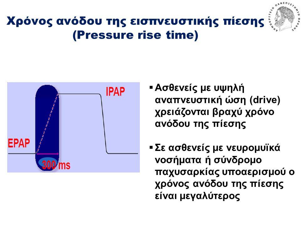 Χρόνος ανόδου της εισπνευστικής πίεσης (Pressure rise time)  Ασθενείς με υψηλή αναπνευστική ώση (drive) χρειάζονται βραχύ χρόνο ανόδου της πίεσης  Σε ασθενείς με νευρομυϊκά νοσήματα ή σύνδρομο παχυσαρκίας υποαερισμού ο χρόνος ανόδου της πίεσης είναι μεγαλύτερος