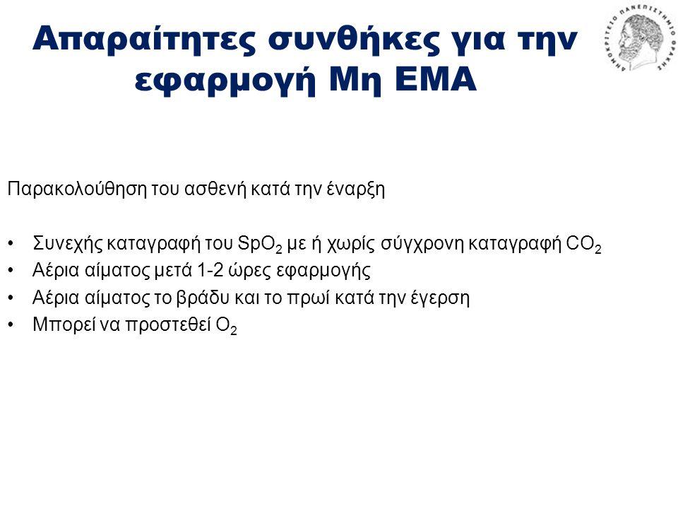 Απαραίτητες συνθήκες για την εφαρμογή Μη ΕΜΑ Παρακολούθηση του ασθενή κατά την έναρξη •Συνεχής καταγραφή του SpO 2 με ή χωρίς σύγχρονη καταγραφή CO 2 •Αέρια αίματος μετά 1-2 ώρες εφαρμογής •Αέρια αίματος το βράδυ και το πρωί κατά την έγερση •Μπορεί να προστεθεί O 2