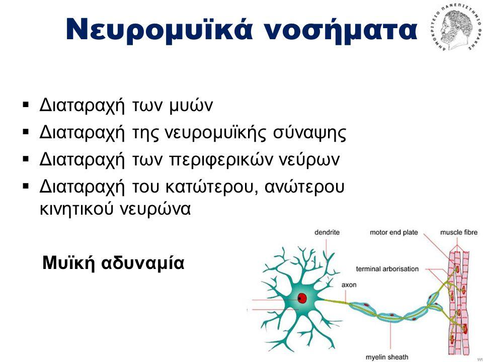 Νευρομυϊκά νοσήματα  Διαταραχή των μυών  Διαταραχή της νευρομυϊκής σύναψης  Διαταραχή των περιφερικών νεύρων  Διαταραχή του κατώτερου, ανώτερου κινητικού νευρώνα Μυϊκή αδυναμία