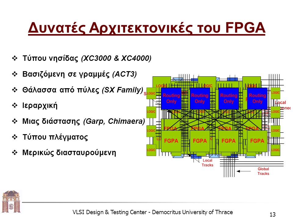 VLSI Design & Testing Center - Democritus University of Thrace 13 Δυνατές Αρχιτεκτονικές του FPGA  Τύπου νησίδας (XC3000 & XC4000)  Βασιζόμενη σε γραμμές (ACT3)  Θάλασσα από πύλες (SX Family)  Ιεραρχική  Μιας διάστασης (Garp, Chimaera)  Τύπου πλέγματος  Μερικώς διασταυρούμενη