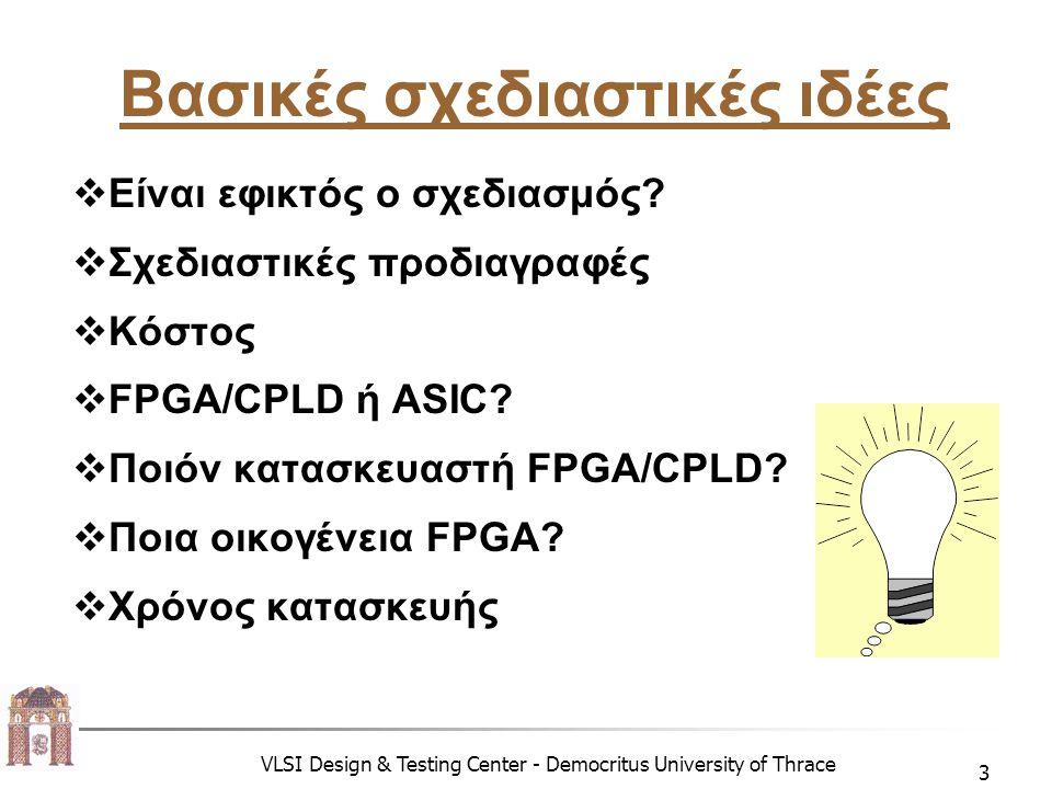 VLSI Design & Testing Center - Democritus University of Thrace 14 Αρχιτεκτονική Βασικής Δομικής Μονάδας  Η αρχιτεκτονική είναι κρίσιμη για:  Την κοκκοποίηση του CLB  Την απόδοση  Τη χωρητικότητα  Την κατανάλωση ισχύος  Τα επιθυμητά χαρακτηριστικά του CLB είναι:  Χαμηλή κατανάλωση ισχύος  Μικρή καθυστέρηση  Υψηλή λειτουργικότητα  Μικρή επιφάνεια πυριτίου