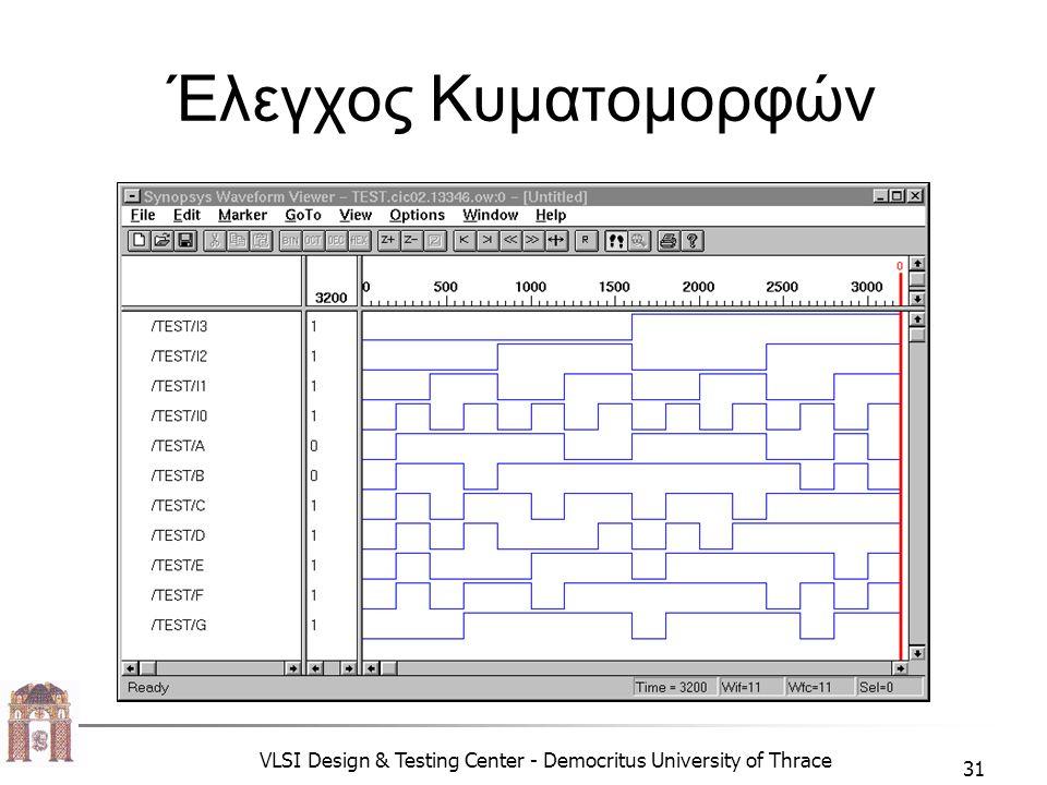 VLSI Design & Testing Center - Democritus University of Thrace 31 Έλεγχος Κυματομορφών