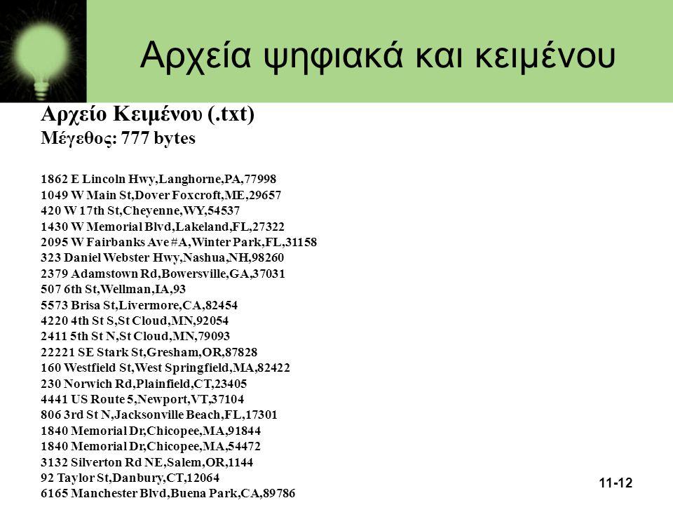 11-12 Αρχεία ψηφιακά και κειμένου Αρχείο Κειμένου (.txt) Μέγεθος: 777 bytes 1862 E Lincoln Hwy,Langhorne,PA,77998 1049 W Main St,Dover Foxcroft,ME,296