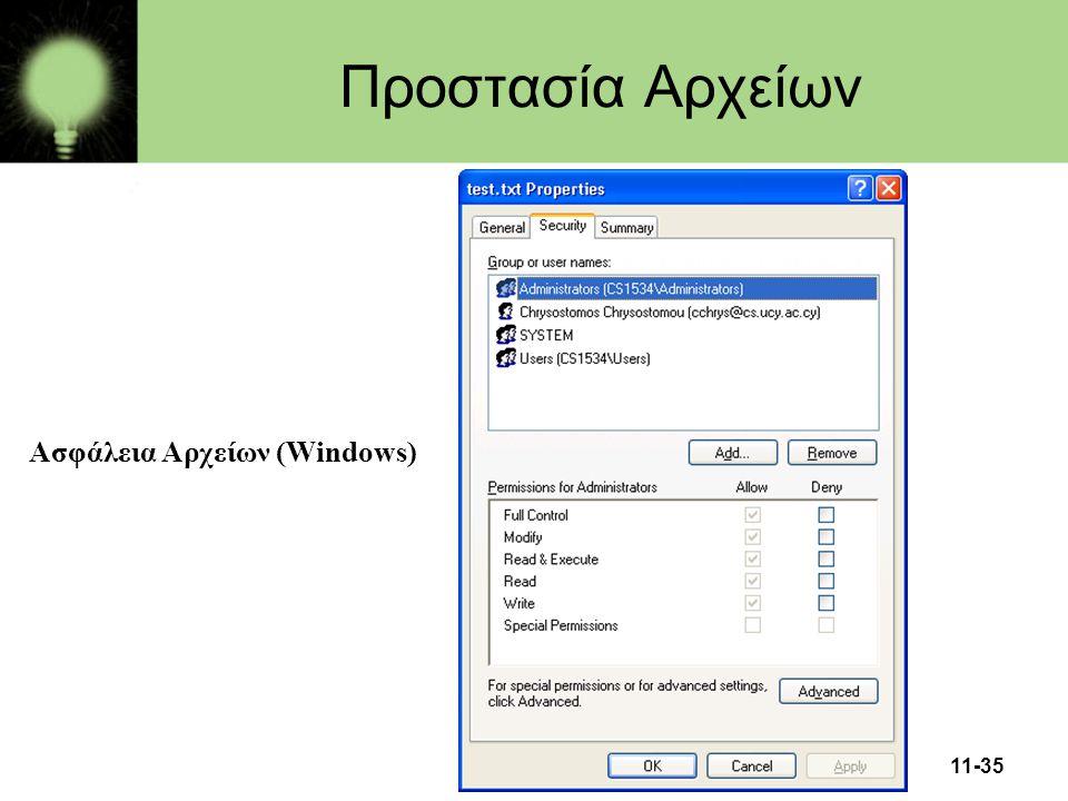 11-35 Προστασία Αρχείων Ασφάλεια Αρχείων (Windows)
