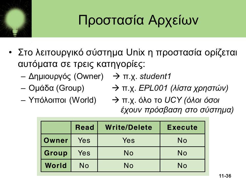 11-36 Προστασία Αρχείων •Στο λειτουργικό σύστημα Unix η προστασία ορίζεται αυτόματα σε τρεις κατηγορίες: –Δημιουργός (Owner)  π.χ. student1 –Ομάδα (G