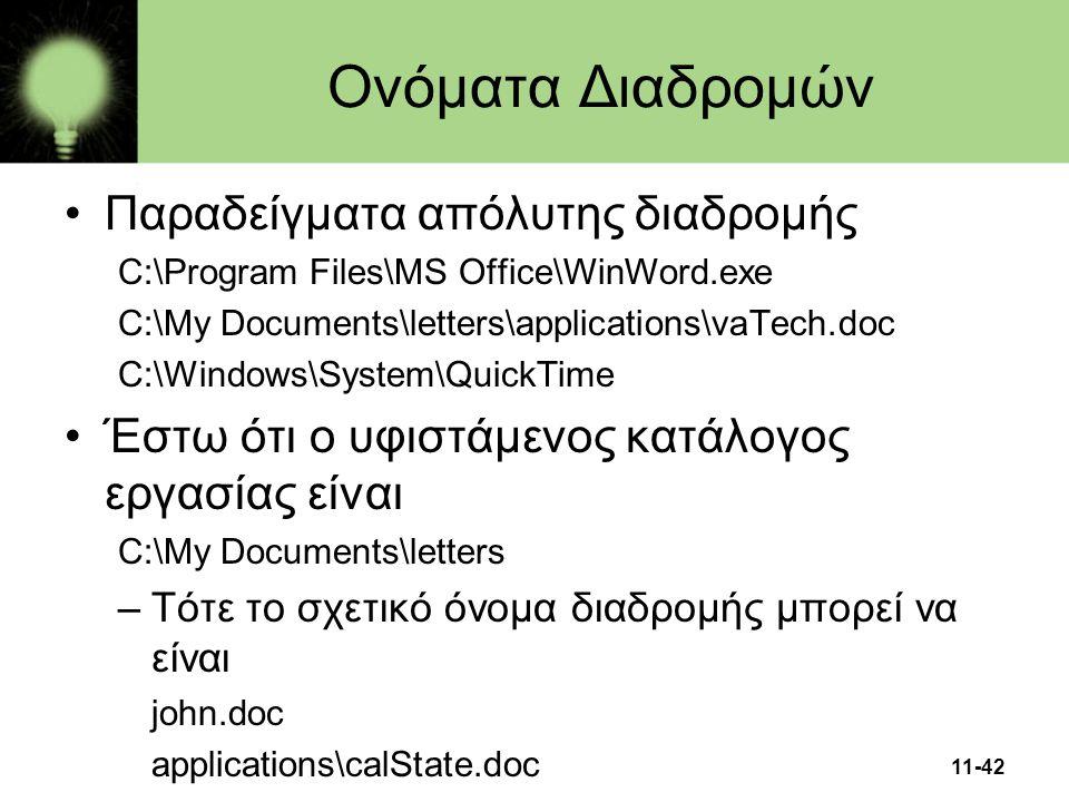 11-42 Ονόματα Διαδρομών •Παραδείγματα απόλυτης διαδρομής C:\Program Files\MS Office\WinWord.exe C:\My Documents\letters\applications\vaTech.doc C:\Win