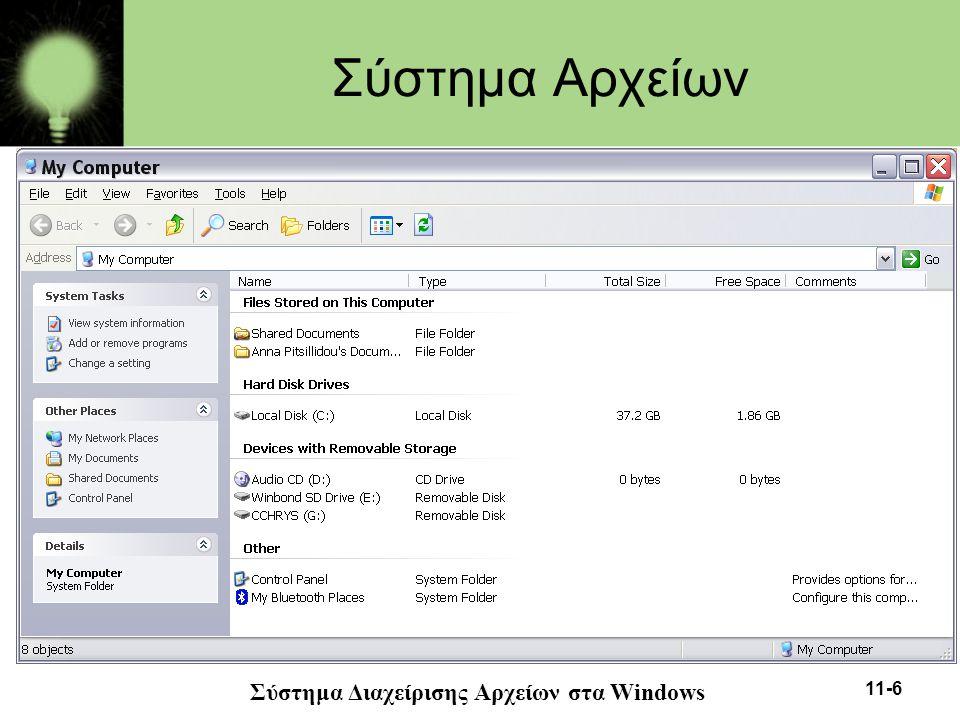 11-17 Τύποι Αρχείων •Οι τύποι αρχείων επιτρέπουν στο λειτουργικό σύστημα να λειτουργεί πάνω σε αρχείο με τέτοιο τρόπο που να έχει νόημα για το συγκεκριμένο αρχείο.