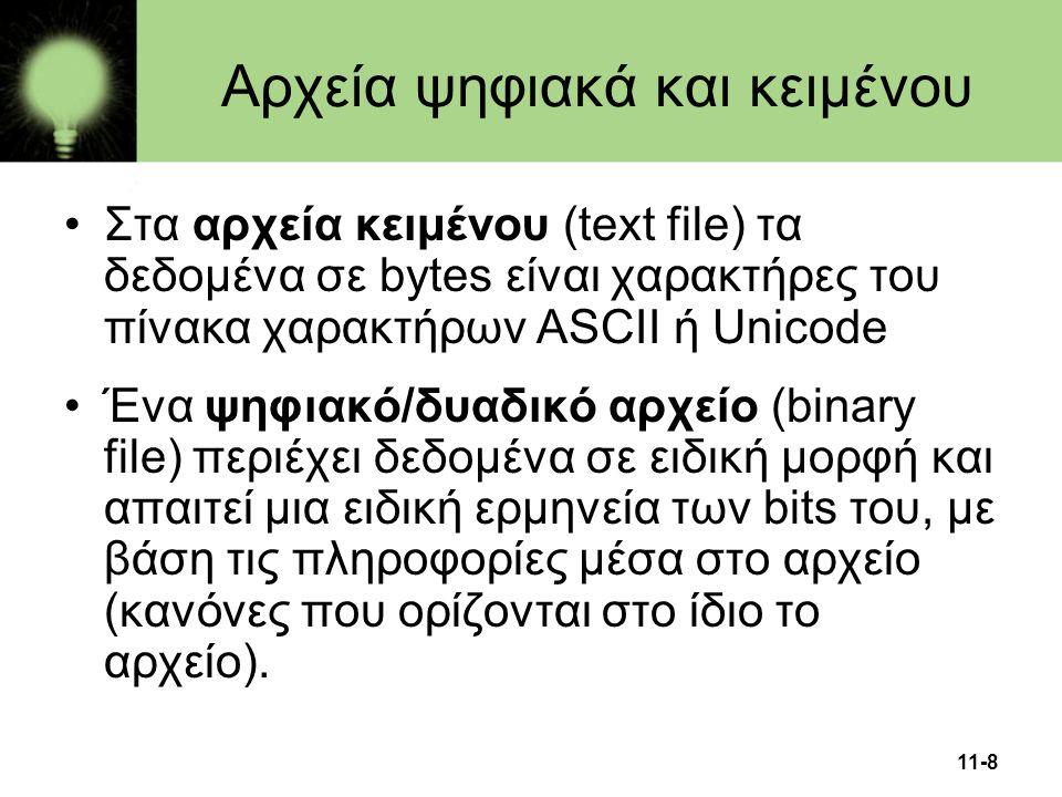 11-8 •Στα αρχεία κειμένου (text file) τα δεδομένα σε bytes είναι χαρακτήρες του πίνακα χαρακτήρων ASCII ή Unicode •Ένα ψηφιακό/δυαδικό αρχείο (binary