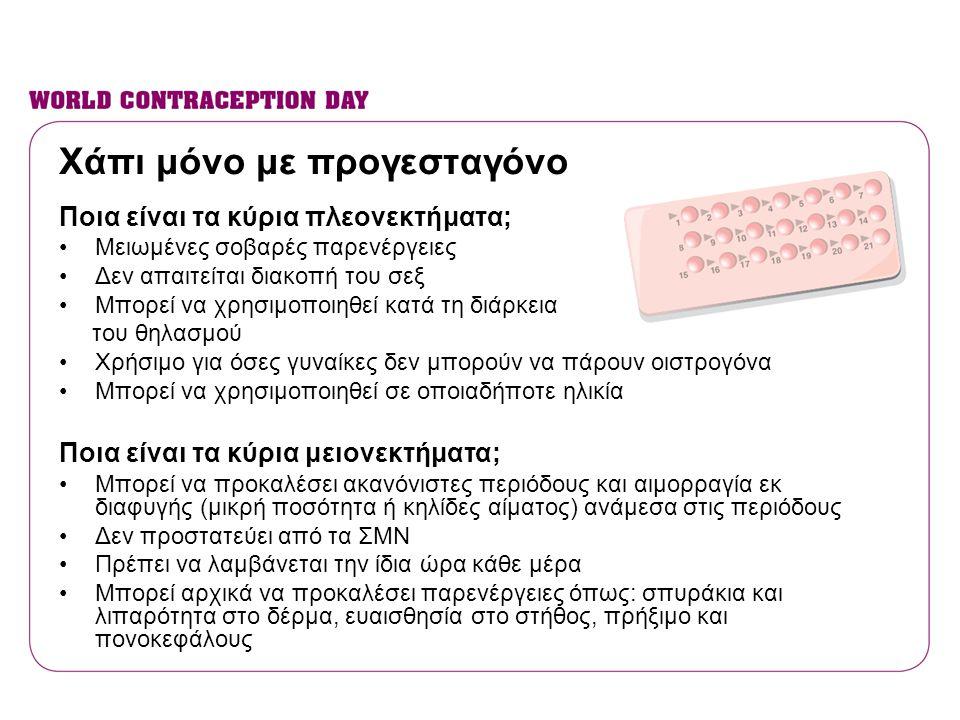 Χάπι μόνο με προγεσταγόνο Ποια είναι τα κύρια πλεονεκτήματα; •Μειωμένες σοβαρές παρενέργειες •Δεν απαιτείται διακοπή του σεξ •Μπορεί να χρησιμοποιηθεί
