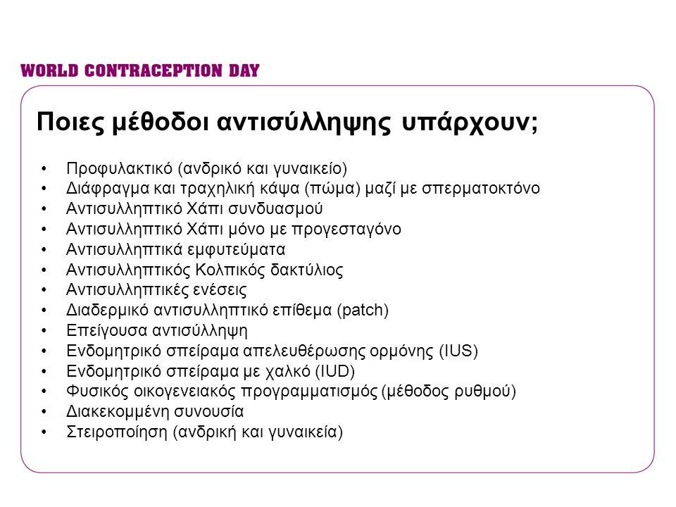 Ποιες μέθοδοι αντισύλληψης υπάρχουν; •Προφυλακτικό (ανδρικό και γυναικείο) •Διάφραγμα και τραχηλική κάψα (πώμα) μαζί με σπερματοκτόνο •Αντισυλληπτικό