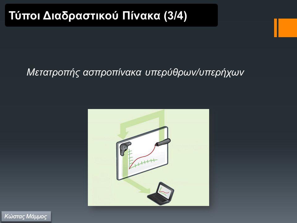 Μετατροπής ασπροπίνακα υπερύθρων/υπερήχων Τύποι Διαδραστικού Πίνακα (3/4) Κώστας Μάμμος