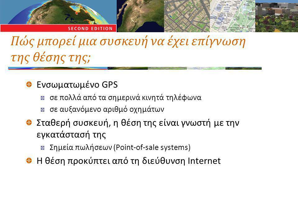 Πώς μπορεί μια συσκευή να έχει επίγνωση της θέσης της; Ενσωματωμένο GPS σε πολλά από τα σημερινά κινητά τηλέφωνα σε αυξανόμενο αριθμό οχημάτων Σταθερή συσκευή, η θέση της είναι γνωστή με την εγκατάστασή της Σημεία πωλήσεων (Point-of-sale systems) Η θέση προκύπτει από τη διεύθυνση Internet