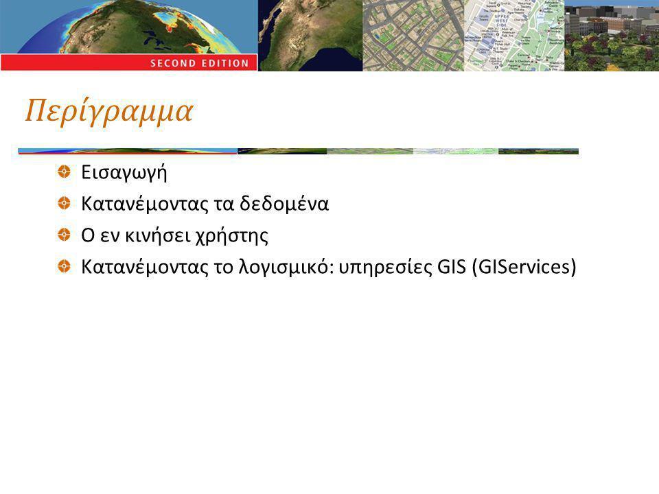 Κατανέμοντας ένα σύστημα GIS Τα επιμέρους συστατικά μπορεί να βρίσκονται σε διαφορετικές τοποθεσίες Ο χρήστης Τα δεδομένα Το λογισμικό Το δίκτυο συνδέει μαζί όλα τα συστατικά