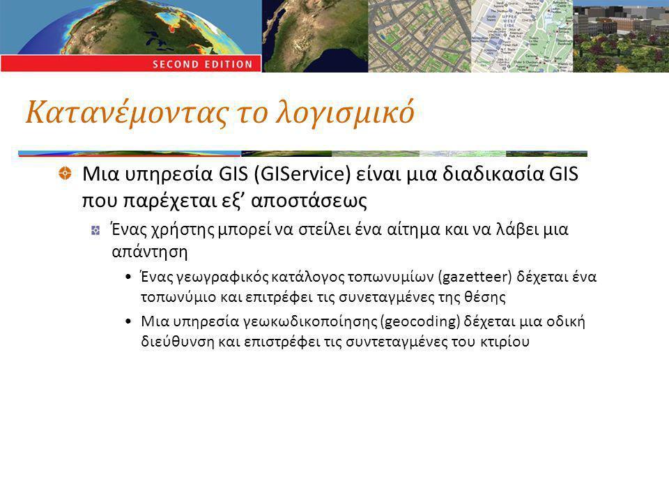 Κατανέμοντας το λογισμικό Μια υπηρεσία GIS (GIService) είναι μια διαδικασία GIS που παρέχεται εξ' αποστάσεως Ένας χρήστης μπορεί να στείλει ένα αίτημα και να λάβει μια απάντηση •Ένας γεωγραφικός κατάλογος τοπωνυμίων (gazetteer) δέχεται ένα τοπωνύμιο και επιτρέφει τις συνεταγμένες της θέσης •Μια υπηρεσία γεωκωδικοποίησης (geocoding) δέχεται μια οδική διεύθυνση και επιστρέφει τις συντεταγμένες του κτιρίου
