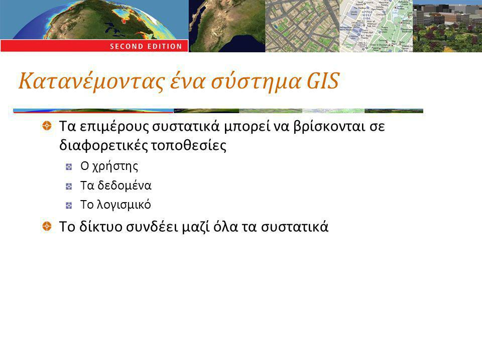 Κατανέμοντας ένα σύστημα GIS Τα επιμέρους συστατικά μπορεί να βρίσκονται σε διαφορετικές τοποθεσίες Ο χρήστης Τα δεδομένα Το λογισμικό Το δίκτυο συνδέ