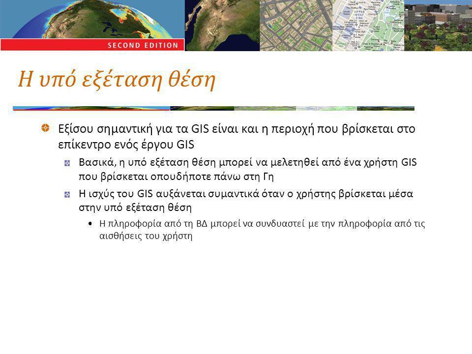 Η υπό εξέταση θέση Εξίσου σημαντική για τα GIS είναι και η περιοχή που βρίσκεται στο επίκεντρο ενός έργου GIS Βασικά, η υπό εξέταση θέση μπορεί να μελετηθεί από ένα χρήστη GIS που βρίσκεται οπουδήποτε πάνω στη Γη Η ισχύς του GIS αυξάνεται συμαντικά όταν ο χρήστης βρίσκεται μέσα στην υπό εξέταση θέση •Η πληροφορία από τη ΒΔ μπορεί να συνδυαστεί με την πληροφορία από τις αισθήσεις του χρήστη
