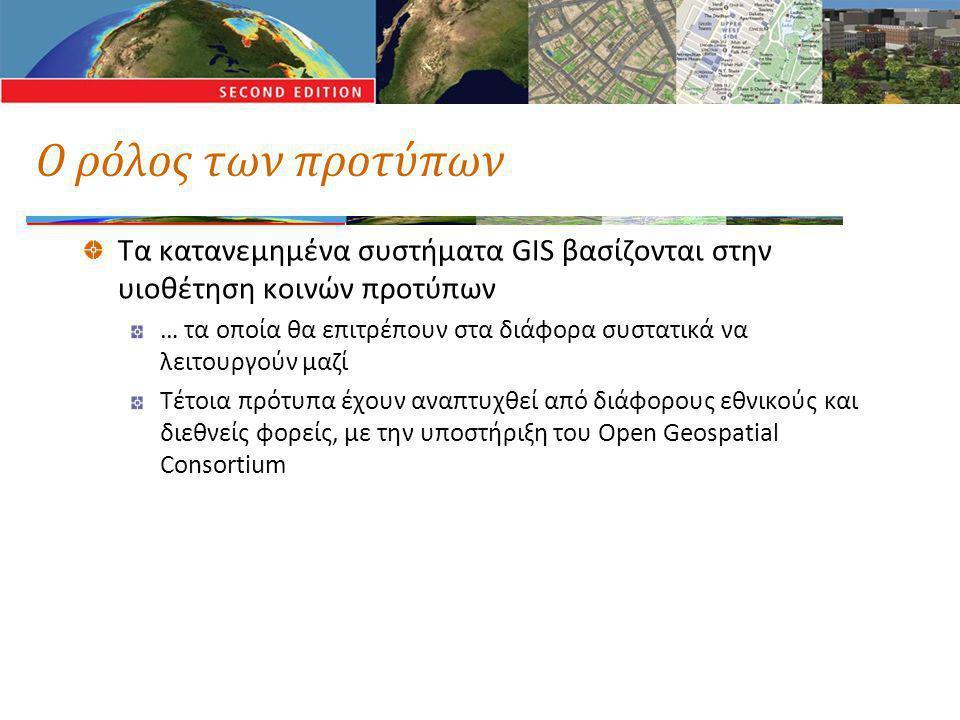 Ο ρόλος των προτύπων Τα κατανεμημένα συστήματα GIS βασίζονται στην υιοθέτηση κοινών προτύπων … τα οποία θα επιτρέπουν στα διάφορα συστατικά να λειτουρ