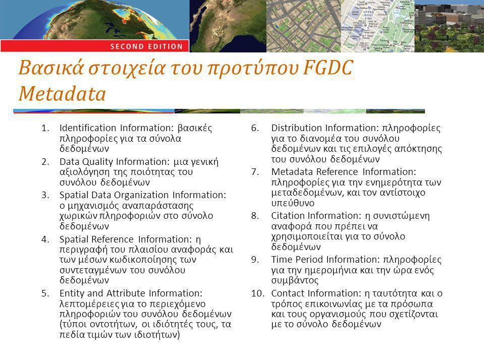 Βασικά στοιχεία του προτύπου FGDC Metadata 1.Identification Information: βασικές πληροφορίες για τα σύνολα δεδομένων 2.Data Quality Information: μια γενική αξιολόγηση της ποιότητας του συνόλου δεδομένων 3.Spatial Data Organization Information: ο μηχανισμός αναπαράστασης χωρικών πληροφοριών στο σύνολο δεδομένων 4.Spatial Reference Information: η περιγραφή του πλαισίου αναφοράς και των μέσων κωδικοποίησης των συντεταγμένων του συνόλου δεδομένων 5.Entity and Attribute Information: λεπτομέρειες για το περιεχόμενο πληροφοριών του συνόλου δεδομένων (τύποι οντοτήτων, οι ιδιότητές τους, τα πεδία τιμών των ιδιοτήτων) 6.Distribution Information: πληροφορίες για το διανομέα του συνόλου δεδομένων και τις επιλογές απόκτησης του συνόλου δεδομένων 7.Metadata Reference Information: πληροφορίες για την ενημερότητα των μεταδεδομένων, και τον αντίστοιχο υπεύθυνο 8.Citation Information: η συνιστώμενη αναφορά που πρέπει να χρησιμοποιείται για το σύνολο δεδομένων 9.Time Period Information: πληροφορίες για την ημερομήνια και την ώρα ενός συμβάντος 10.Contact Information: η ταυτότητα και ο τρόπος επικοινωνίας με τα πρόσωπα και τους οργανισμούς που σχετίζονται με το σύνολο δεδομένων