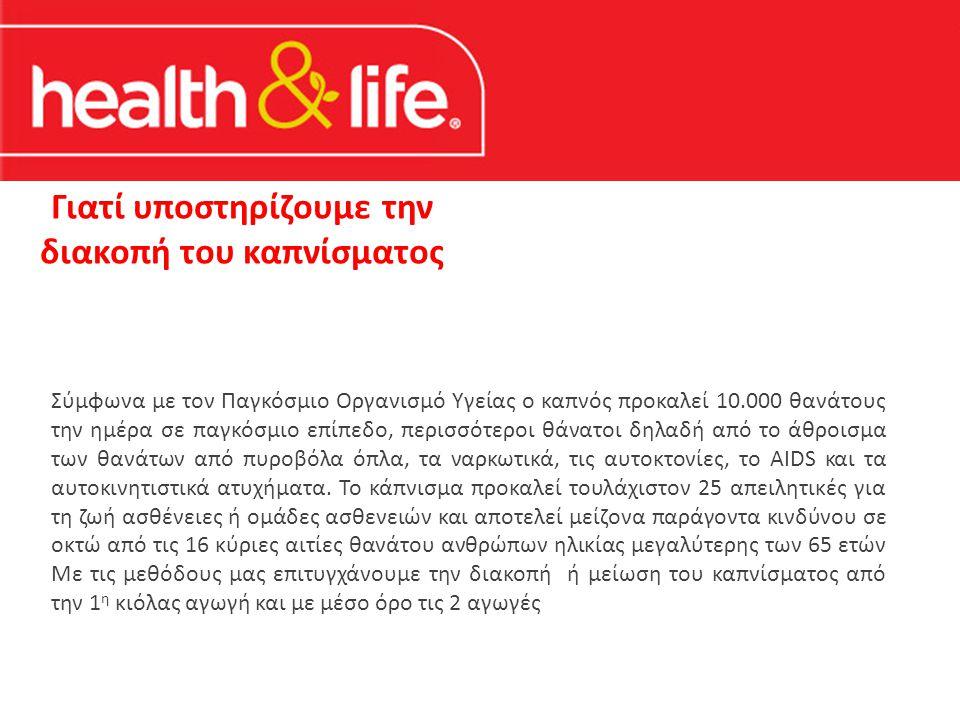 Γιατί υποστηρίζουμε την διακοπή του καπνίσματος Σύμφωνα με τον Παγκόσμιο Οργανισμό Υγείας ο καπνός προκαλεί 10.000 θανάτους την ημέρα σε παγκόσμιο επίπεδο, περισσότεροι θάνατοι δηλαδή από το άθροισμα των θανάτων από πυροβόλα όπλα, τα ναρκωτικά, τις αυτοκτονίες, το AIDS και τα αυτοκινητιστικά ατυχήματα.