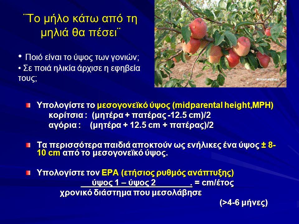 ¨Το μήλο κάτω από τη μηλιά θα πέσει¨ Υπολογίστε το μεσογονεϊκό ύψος (midparental height,MPH) κορίτσια : (μητέρα + πατέρας -12.5 cm)/2 κορίτσια : (μητέρα + πατέρας -12.5 cm)/2 αγόρια : (μητέρα + 12.5 cm + πατέρας)/2 αγόρια : (μητέρα + 12.5 cm + πατέρας)/2 Τα περισσότερα παιδιά αποκτούν ως ενήλικες ένα ύψος ± 8- 10 cm από το μεσογονεϊκό ύψος.