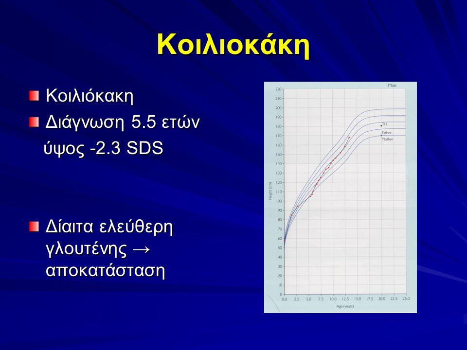 Κοιλιoκάκη Κοιλιόκακη Διάγνωση 5.5 ετών ύψος -2.3 SDS ύψος -2.3 SDS Δίαιτα ελεύθερη γλουτένης → αποκατάσταση