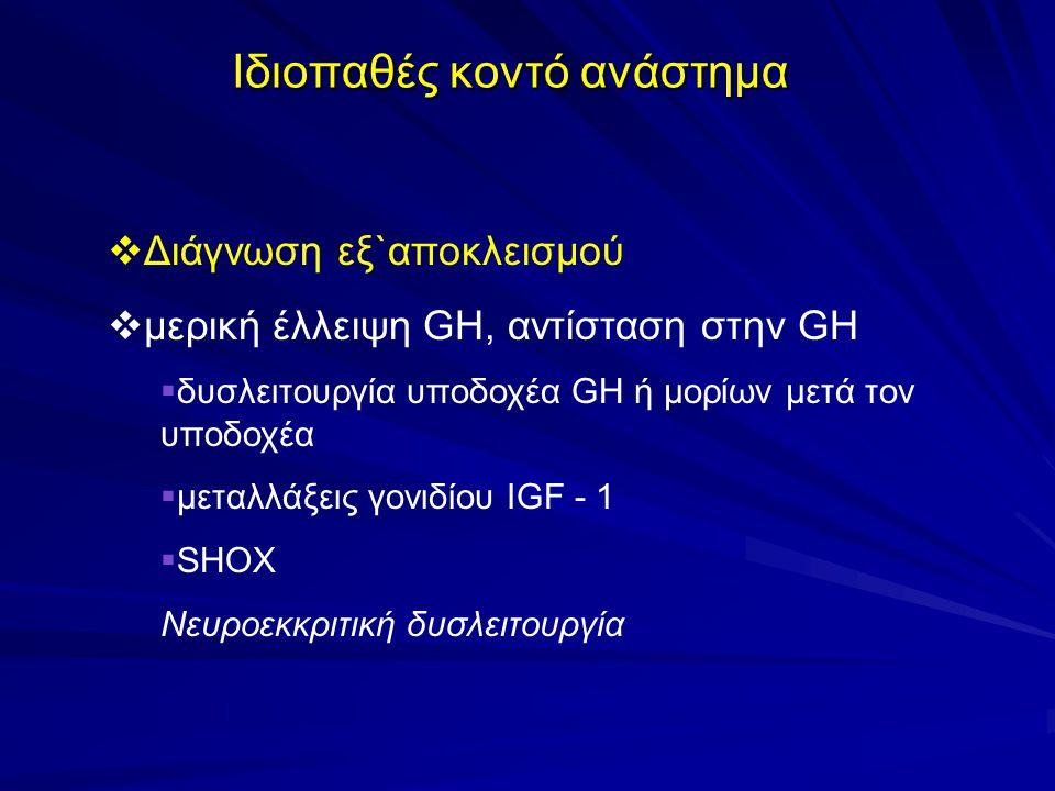 Ιδιοπαθές κοντό ανάστημα  Διάγνωση εξ`αποκλεισμού  μερική έλλειψη GH, αντίσταση στην GH  δυσλειτουργία υποδοχέα GH ή μορίων μετά τον υποδοχέα  μεταλλάξεις γονιδίου IGF - 1  SHOX Νευροεκκριτική δυσλειτουργία