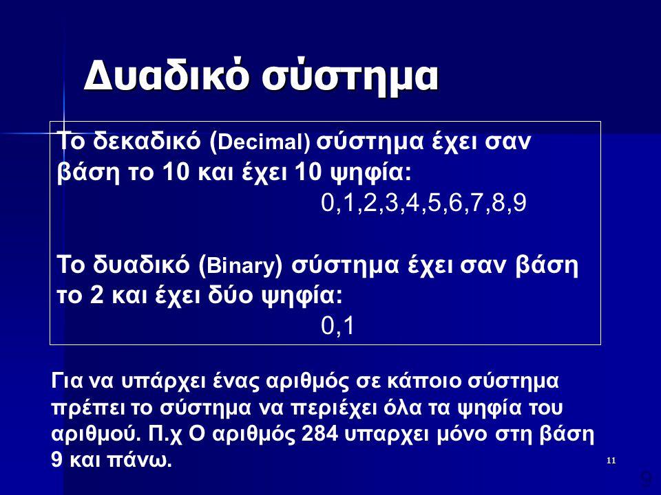 12 Δυαδικό σύστημα  Έκφραση αριθμών με βάση τις δυνάμεις του 2: –10001: 1x2 4 +0x2 3 +0x2 2 +0x2 1 +1x2 0 =17 (1x10 1 +7x10 0 ) –110001: 1x2 5 +1x2 4 +0x2 3 +0x2 2 +0x2 1 +1x2 0 =49 (4x10 1 +9x10 0 ) Παρατηρήσεις: Η αναπαράσταση αριθμών στο δυαδικό σύστημα απαιτεί μεγάλο αριθμό ψηφίων