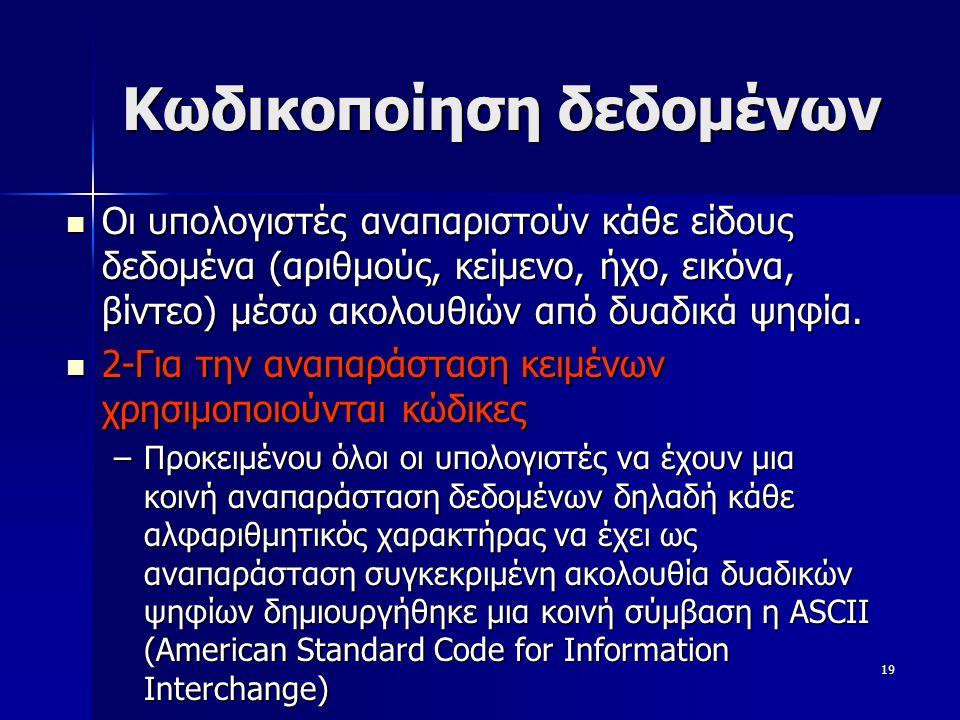 20 Κωδικοποίηση Δεδομένων με βάση τον κώδικα ASCII