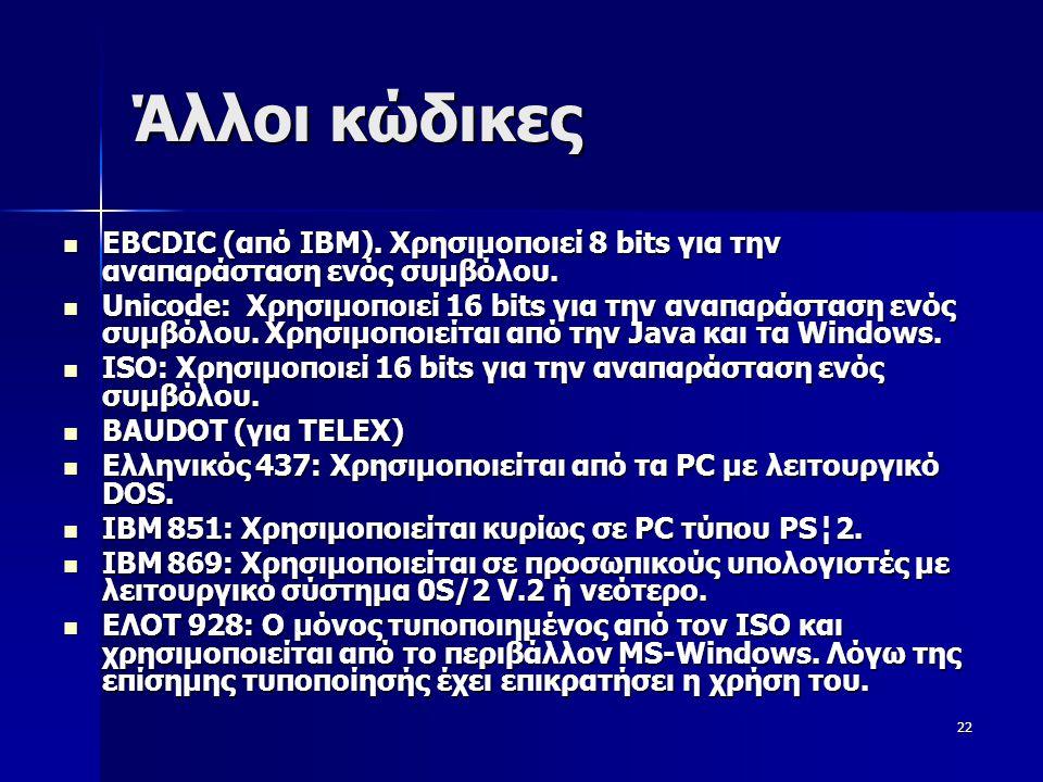 23 Παραδείγματα  Η λέξη copy σε δυαδική μορφή έχει ως εξής: –01000011 01101111 01110000 01111001 –Απαιτεί για αποθήκευση 4 bytes  Άσκηση –Η λέξη boy σε ψηφιακή μορφή –Ποια είναι η χωρητικότητα της (σε (bytes);